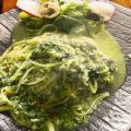 タコの卵とほうれん草のペペロンチーノ